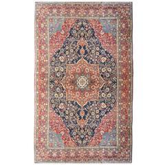 19th Century Persian Wool Rug, Kirman, Rosette Design, circa 1900.