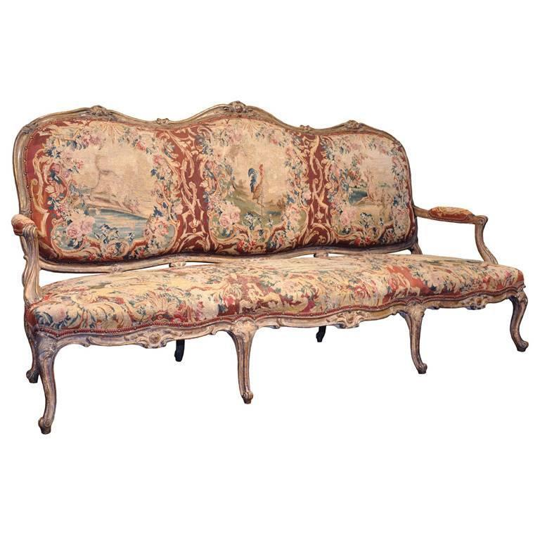 18th century french louis xv carved gold leaf canap with for Louis xv canape sofa