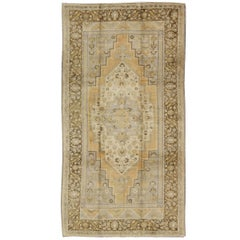 Vintage Oushak Rug in Butter Yellow, Brown and Gray Blue