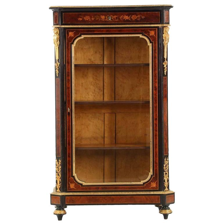 French Napoleon III Marquetry Inlaid Antique Bibliotheque Bookcase Cabinet  For Sale