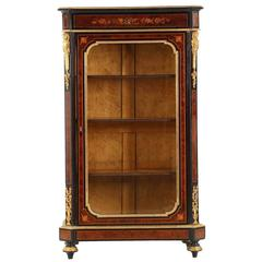 French Napoleon III Marquetry Inlaid Antique Bibliotheque Bookcase Cabinet