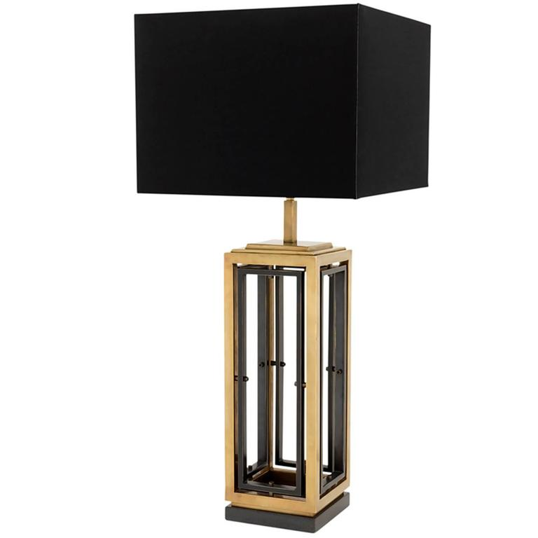 Stepper Table Lamp in Gunmetal and Vintage Brass Finish