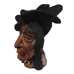 19th Century Hand-Carved and Painted Cigar Store Indian Head