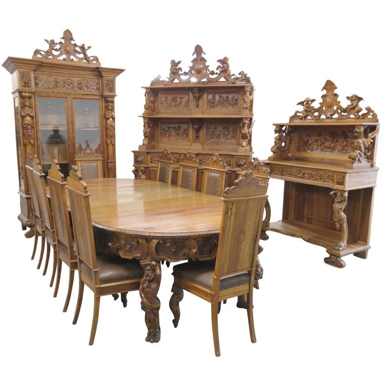 14 Pieces R.J. Horner Style Monumental Walnut Dining Room Set For Sale