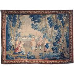"18th Century French Aubusson Tapestry ""Colin-Maillard"" with Original Border"