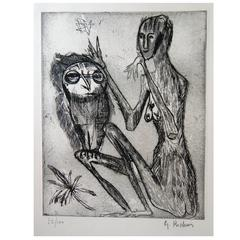 French Artist Germaine Richier Original Etching, Figure with Owl
