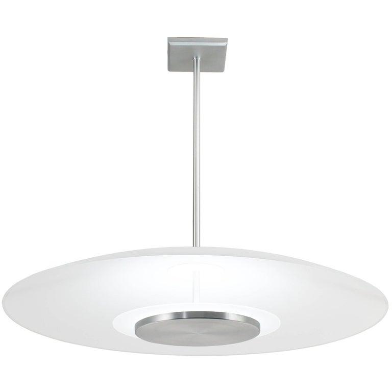 Mid-Century Modern Style Round Curved Glass Pendant Light, Satin Aluminium