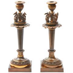Pair of English Regency Bronze Candlesticks, circa 1820
