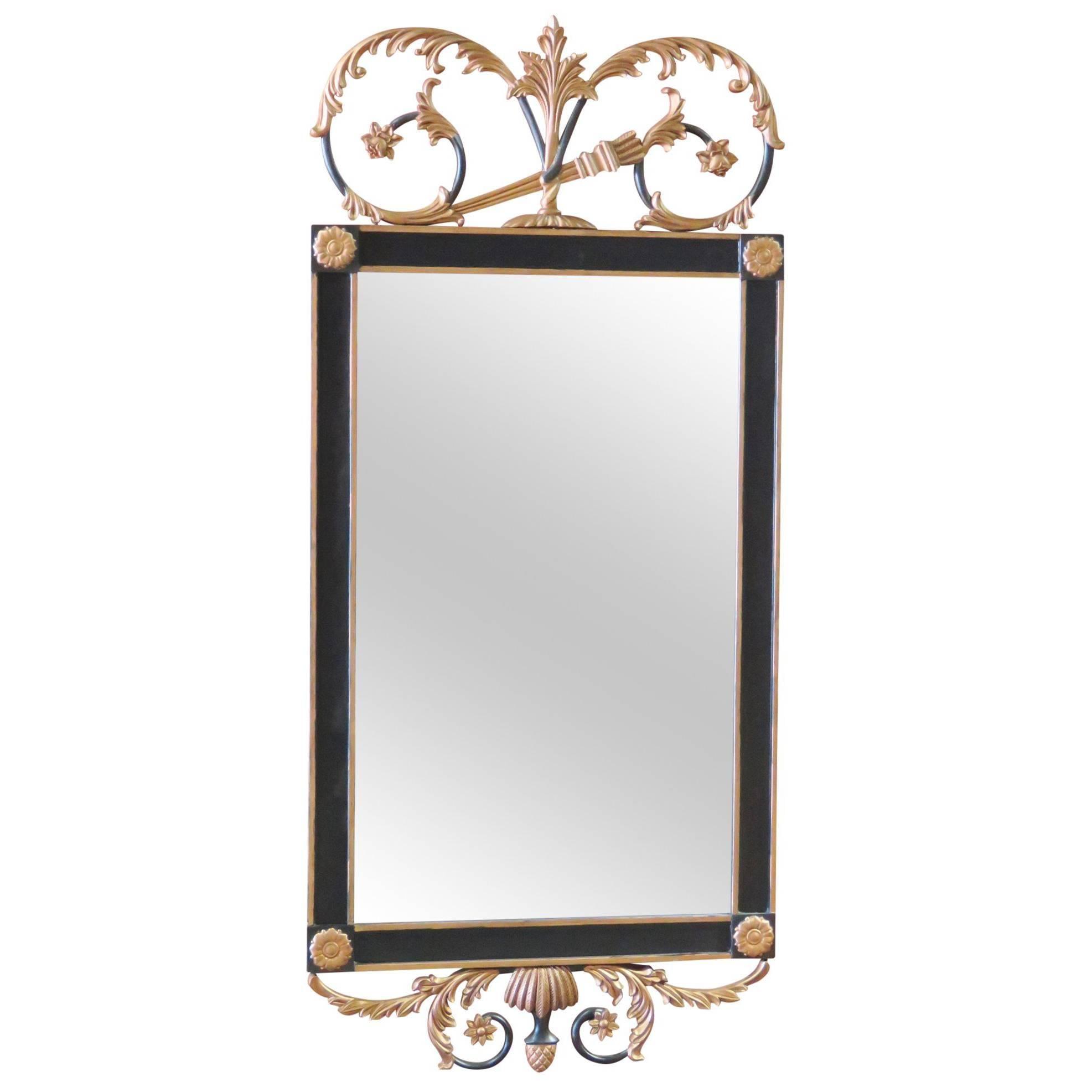 Regency Style Ebonized and Gilt Carved Mirror