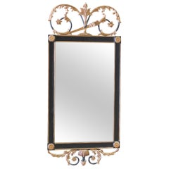 Regency Style Ebonized and Gilt Carved Mirror