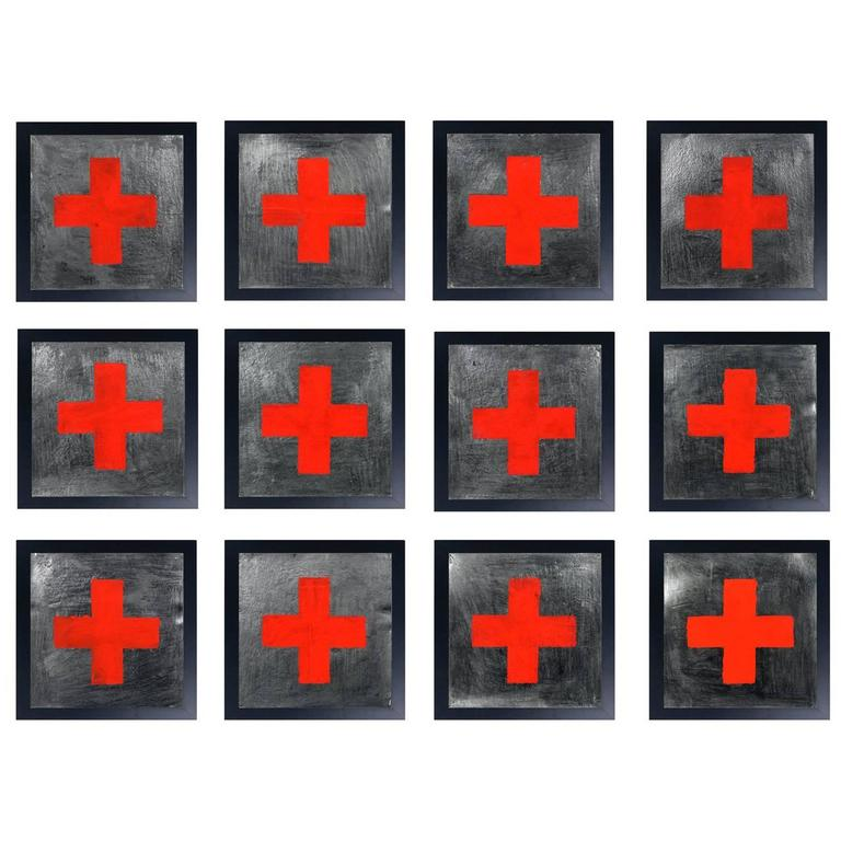 Group of 12 Original Red Cross Paintings Very Graphic