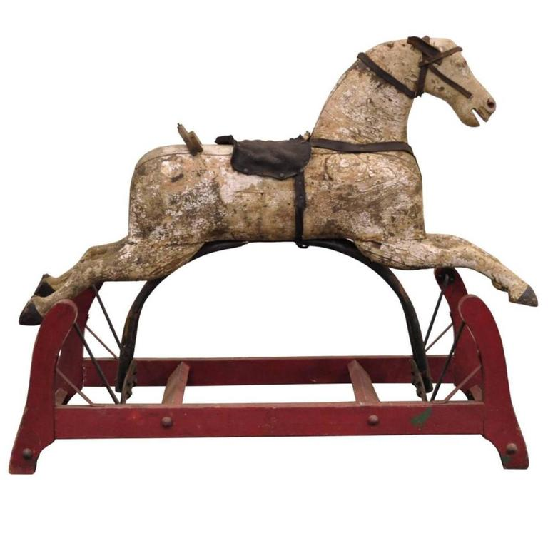 19th century american primitive carved wood cast iron glider rocking hobby horse for sale at 1stdibs. Black Bedroom Furniture Sets. Home Design Ideas