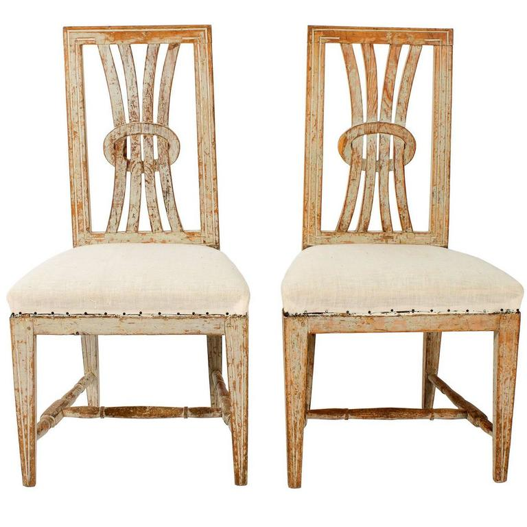 Open Back Gustavian Chairs For Sale