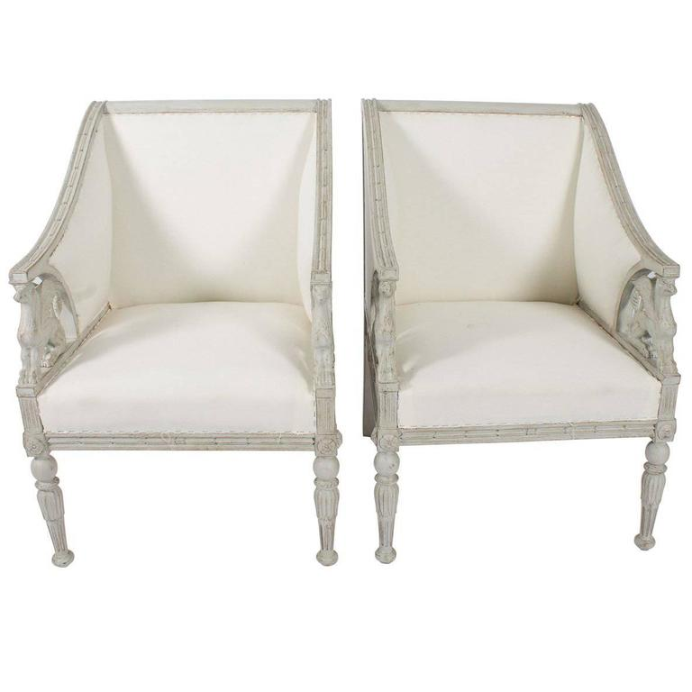 Griffin Detail Square Back Armchairs