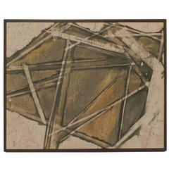 Mid-Century Chinese Batik Painting Framed Modernist Abstract Wall Art 1