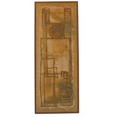 Mid-Century Chinese Batik Painting Framed Modernist Abstract Wall Art 2