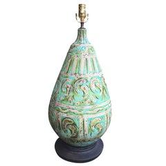 Mid-Century Italian Blue and Green Pottery Lamp, Terra Cotta