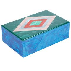 Edie Parker Home Diamond Box in Ocean Blue Pearlescent and Malachite Acrylic