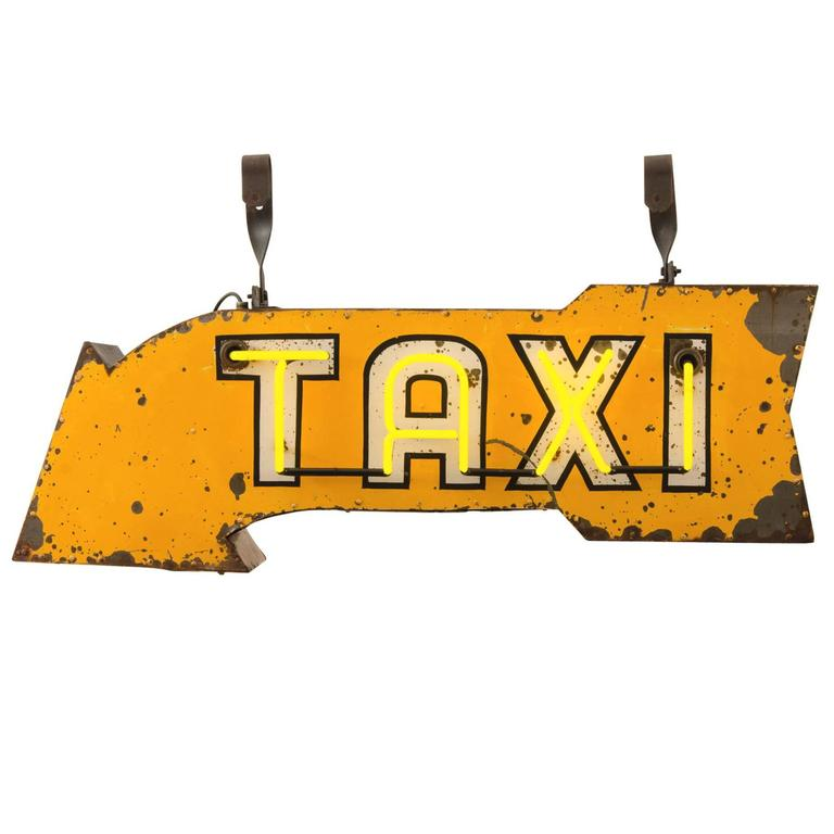 bright yellow double sided neon taxi sign circa 1950s for. Black Bedroom Furniture Sets. Home Design Ideas