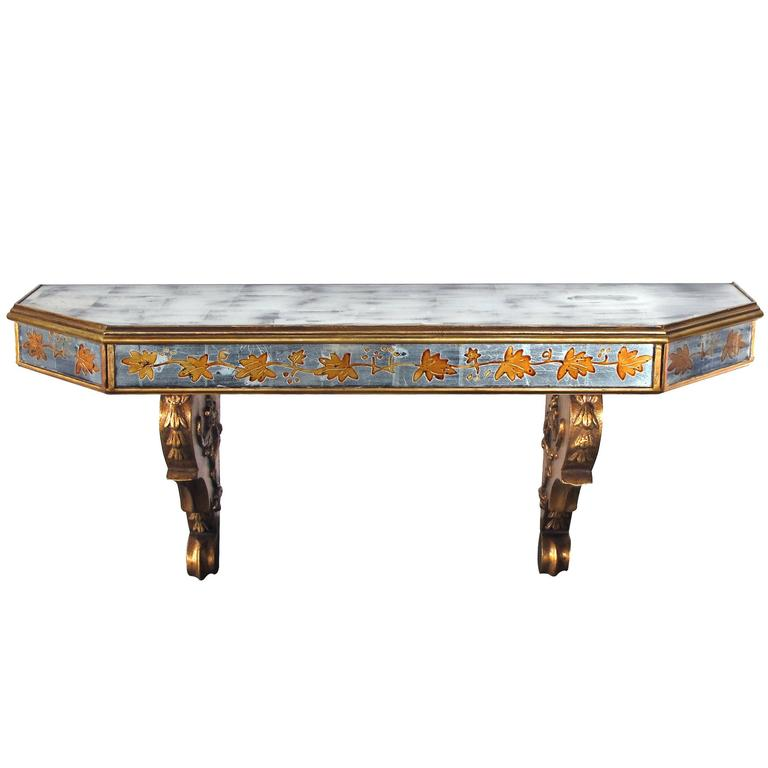 Chic French Maison Jansen 1940s Gilt Wood and églomisé Wall Console For Sale