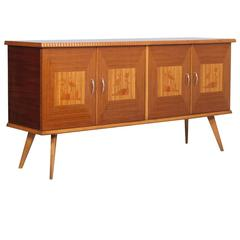 Mid-Century Modern Melchiorre Bega Style Buffet Beech Rosewood and Inlaid Maple
