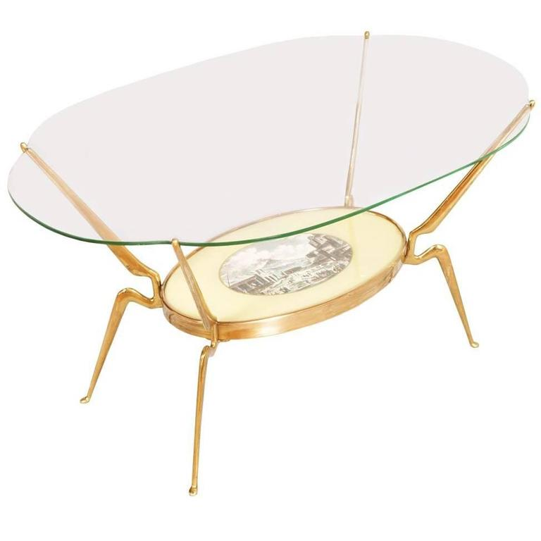 Mid-Century Modern Coffee Table by Cesare Lacca in Gilt Brass Period, 1950s