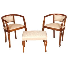 Early 20th Century Italian Set Bedroom Chairs Art Nouveau, Walnut Hand-Cared