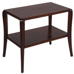 Art Deco 1930s Side Table Walnut Darker Legs with Tops in Walnut Double Paneled