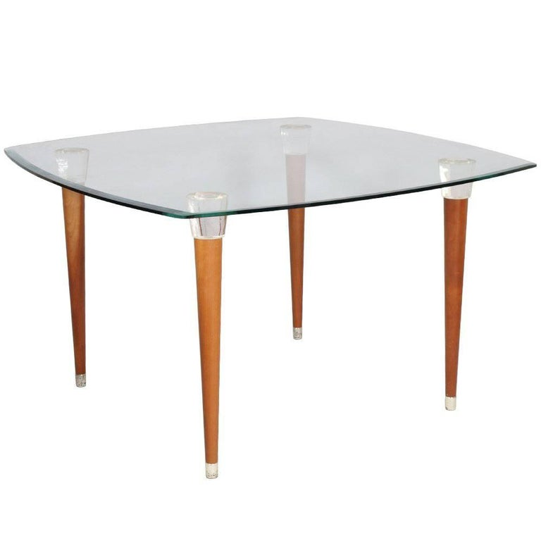 Mid-Century Modern Table, Glass Top, Walnut Turned Legs and Heads Murano Glass For Sale