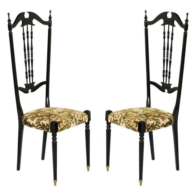 Pair of Chiavari High Back Chairs by Gaetano Descalzi, Italy in Mahogany