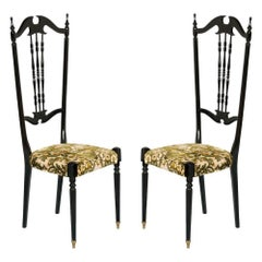Italian Pair of Chiavari High Back Chairs by Gaetano Descalzi, Ebonized Mahogany