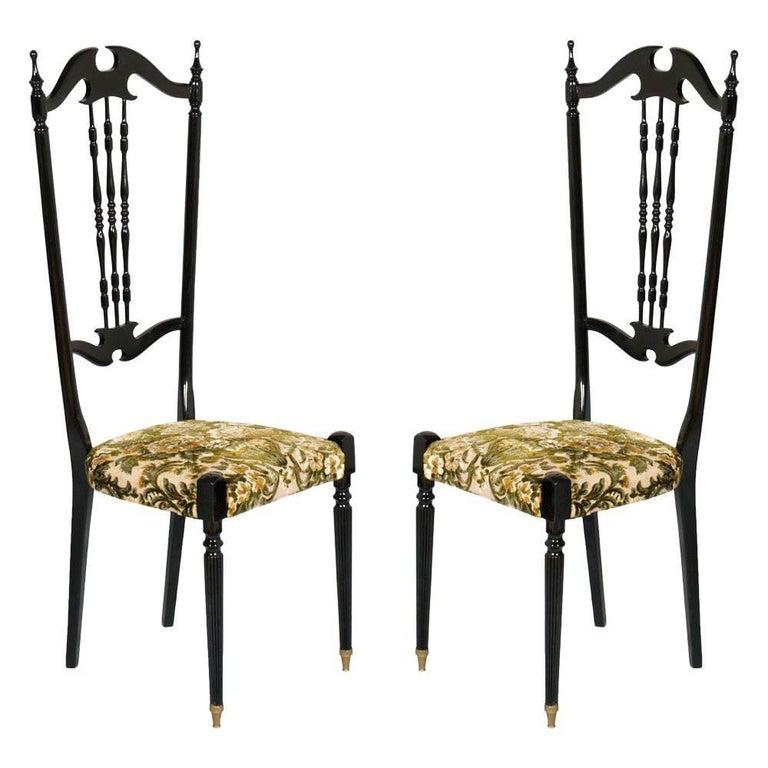 Italian Pair of Chiavari High Back Chairs by Gaetano Descalzi, Ebonized Mahogany For Sale
