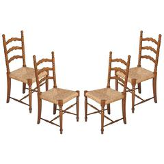 Mid-Century Modern Chiavari Set of Four Chairs Straw Seat in Walnut Wood Turned