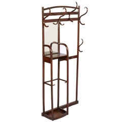 19TH Century Entrance Coat-Rack Hanger with Mirror by Thonet