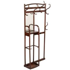 Early 20th Century Art Nouveau Entrance Coat-Rack Hanger with Mirror by Thonet