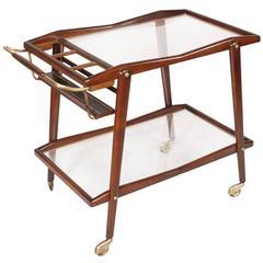 Mid-Century Modern Cesare Lacca Trolley Bar, Walnut Crystal Gilt Brass