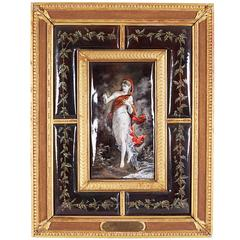Large French Limoges Enamel Plaque by Coblentz with Original Frame Dated 1889
