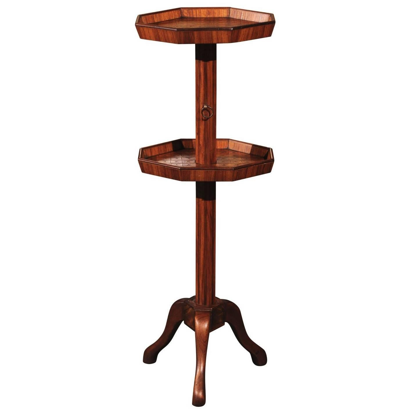 Adjustable French Wooden Dumb Waiter/Pedestal Stand from the Late 19th Century