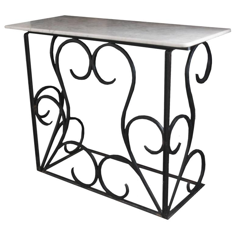 Vintage French Iron Console with White Marble Top