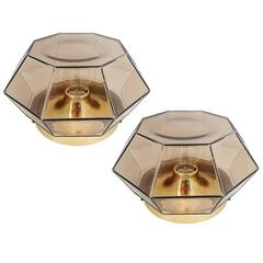 Pair of Large Geometric Glass Ceiling or Wall Lights Flush Mounts by Limburg