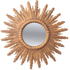 French 19th Century Giltwood Starburst Mirror