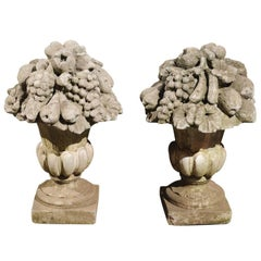 Pair of French Stone Fruit, Flowers and Médicis Vase Sculptures, circa 1920