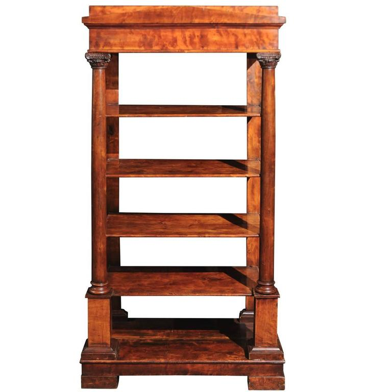 Austrian Fruitwood Biedermeier Open Bookcase or Shelf with Corinthian Columns