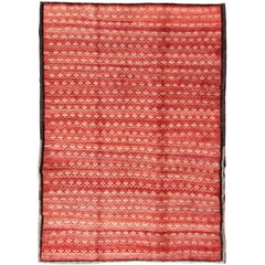 Vintage Turkish Konya Rug with Modern Checkered Design in Red Background