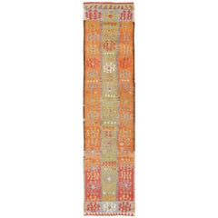 Long Kilim Runner with Green and Orange