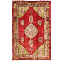 Turkish Konya Rug in Red, Lime Green, Gray, Yellow, and Ivory