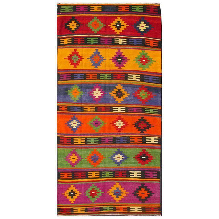 Colorful and Vibrant Turkish Vintage Kilim Rug with Repeating Diamond Pattern