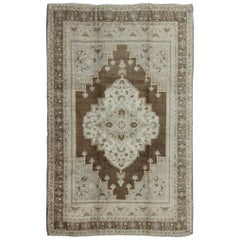 Vintage Turkish Oushak Rug with Brown Background