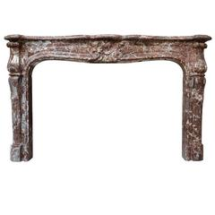 Louis XV Period Belgium Rance Marble Fireplace, 18th Century