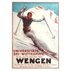 Original Vintage Sport Event Poster for the University Ski Competition in Wengen